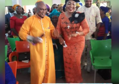 Bishop Elect and Rev Mrs Arutere dancing in the thanksgiving service